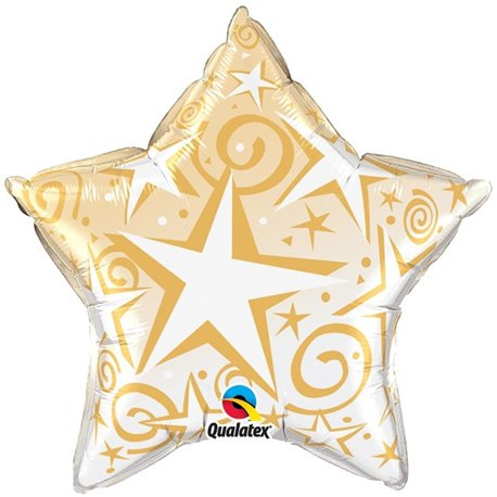 Balon Folie 45 cm Starlbast Gold, Qualatex, 50 cm, 89304