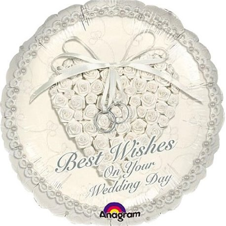"Best Wishes On Your Wedding Day Foil Balloon, Amscan, 18"", 113600"