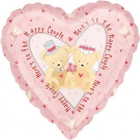 "Balon Folie 45 cm Inima ""Happy Couple"", Amscan 16032"