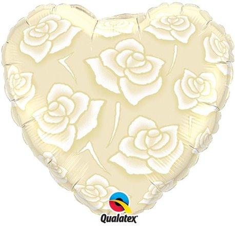 Balon Folie 45 cm Inima Trandafiri, Qualatex 90413