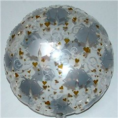 Balon folie 45cm transparent cu clopotei si inimi, Amscan 059428