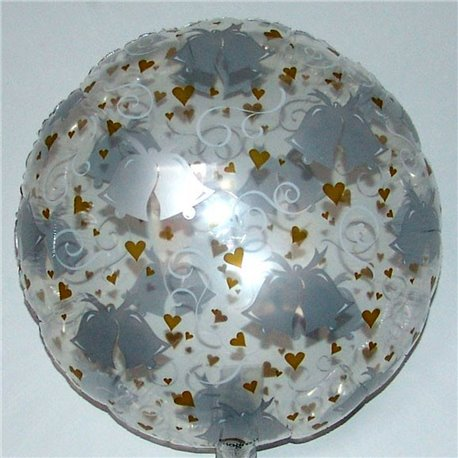 Balon Folie 45 cm Transparent cu Clopotei si Inimi, Amscan 059428