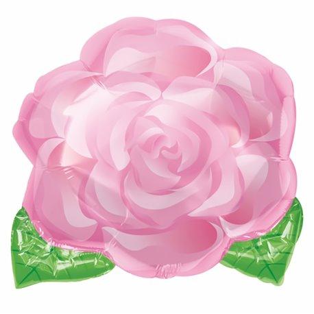 "Pink Blooming Rose Junior Shape Standard Foil Balloon - 18""/45cm, Amscan 12092"