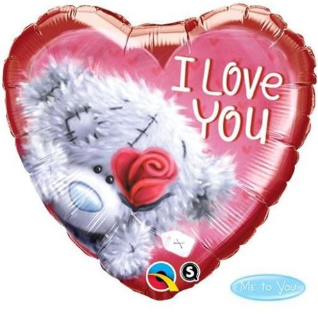 Balon Folie 45 cm Inima Teddy Bear I love You, Qualatex 20811