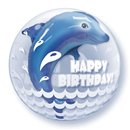 "Birthday Wave Jumping Dolphin Double Bubble Balloon - 24""/61cm, Qualatex 68803, 1 piece"