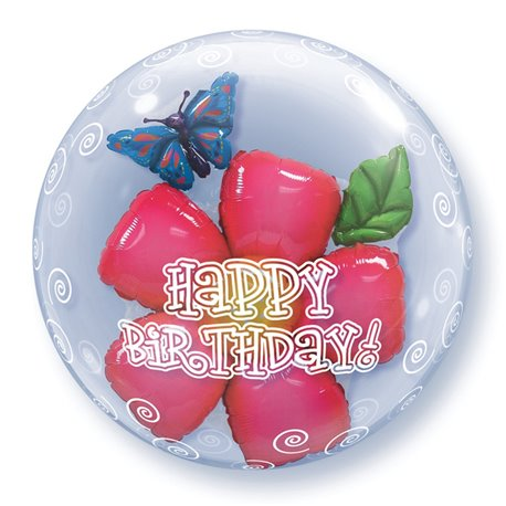 "Birthday Flower Double Bubble Balloon - 24""/61cm, Qualatex 68805, 1 piece"