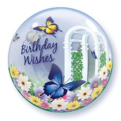 "Birthday Wishes Garden Butterflies Bubble Balloon - 22""/56cm, Qualatex 68648, 1 piece"