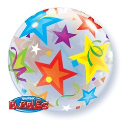 "Balon Bubble 22""/56cm Qualatex, Brilliant Stars, 23594"