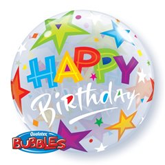 "Balon Bubble 22""/56cm Qualatex, Birthday Brilliant Stars, 23595"
