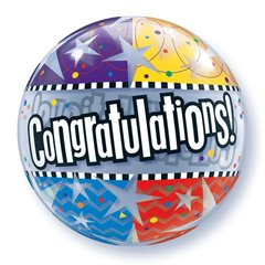 "Congratulations! Star Patterns Bubble Balloon - 22""/56cm, Qualatex 68652, 1 piece"