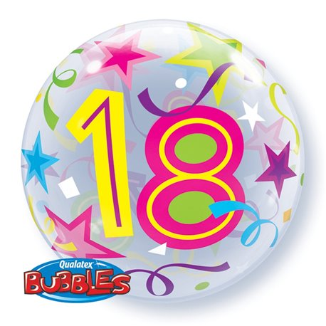 "18 Brilliant Stars Bubble Balloon - 22""/56cm, Qualatex 24166, 1 piece"