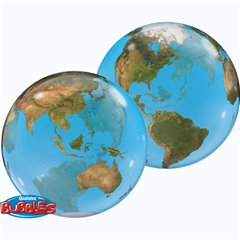 "Balon Bubble 22""/56cm Qualatex, Planeta Terra, 16871"