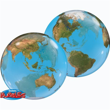 "Planet Earth Bubble Balloon - 22""/56cm, Qualatex 16871, 1 piece"