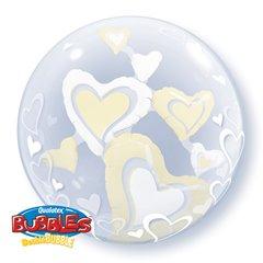 """Balon Double Bubble 24""""/61cm Qualatex, cu Inimioare Albe si Ivory, 29489"""