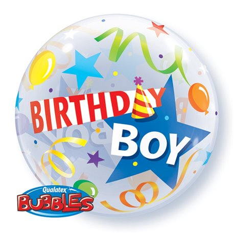 "Balon Bubble 22""/56cm Qualatex, Birthday Boy Party Hat, 27510"