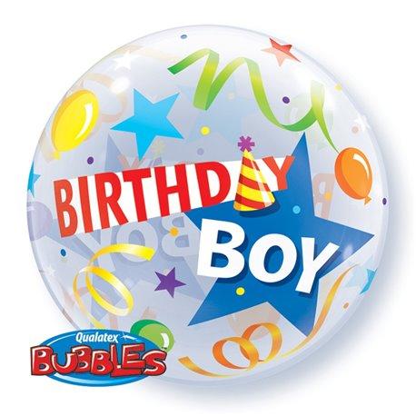 "Birthday Boy Party Hat Bubble Balloon - 22""/56cm, Qualatex 27510, 1 piece"