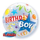 "Birthday Boy Party Hat Bubble Balloon - 22""/56cm, Qualatex 27510, 1 piece"