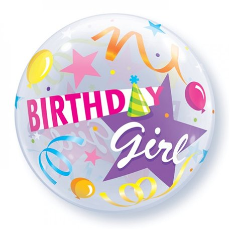 "Birthday Girl Party Hat Bubble Balloon - 22""/56cm, Qualatex 27511, 1 piece"
