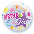 "Balon Bubble 22""/56cm Qualatex, Birthday Girl Party Hat, 27511"