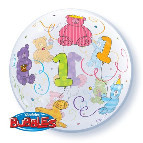 "Balon Bubble 22""/56cm Qualatex, Teddy Bears pentru aniversare 1 an, 36368"