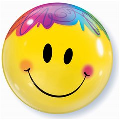 "Bright Smile Face Bubble Balloon - 22""/56cm, Qualatex 35173, 1 piece"