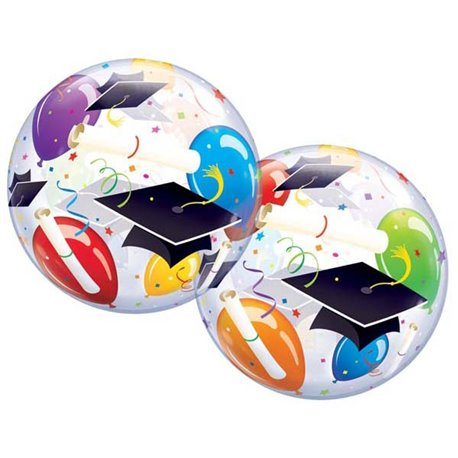 "Grad Hats & Balloons Bubble Balloon - 22""/56cm, Qualatex 18693, 1 piece"
