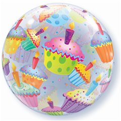 "Cupcakes Bubble Balloon - 22""/56cm, Qualatex 34407, 1 piece"