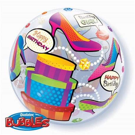 "Birthday Girl Shopping Spree Bubble Balloon - 22""/56cm, Qualatex 27563, 1 piece"