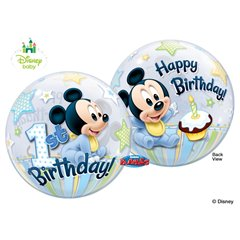 "Mickey Mouse 1st Birthday Bubble Balloon - 22""/56cm, Qualatex 12864, 1 piece"