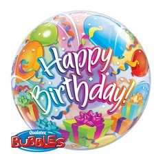 "Birthday Surprise Bubble Balloon - 22""/56cm, Qualatex 65407, 1 piece"