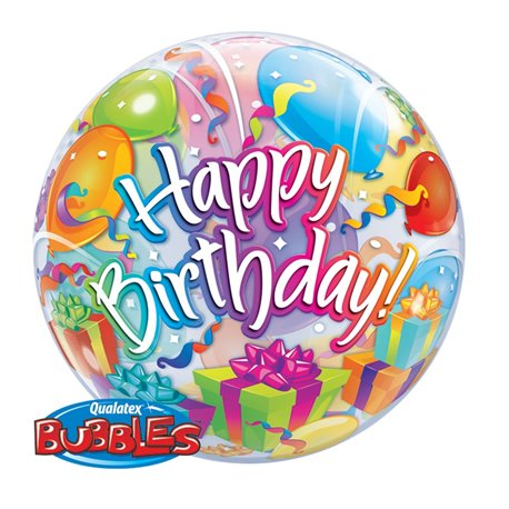 "Balon Bubble 22""/56cm Qualatex, Birthday Surprise, 65407"