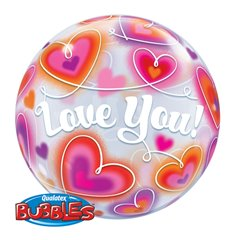 "Love You Doodle Hearts Bubble Balloon - 22""/56cm, Qualatex 34072, 1 piece"