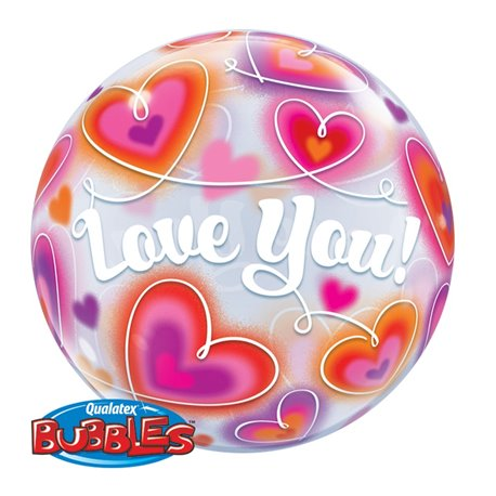 "Love You Doodle Hearts Bubble Balloon - 22""/56cm, Qualatex 34072, 1 piece"