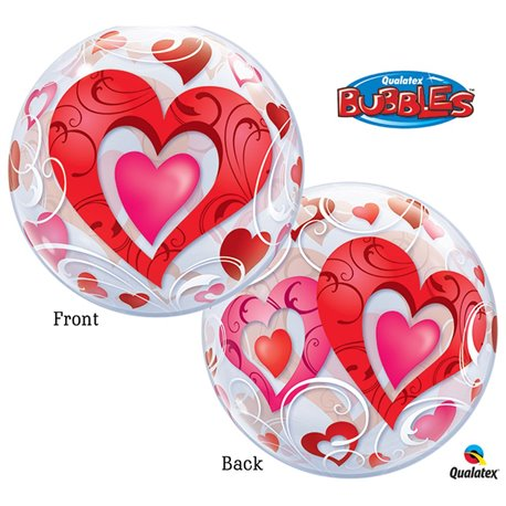 "Red Hearts & Filigree Bubble Balloon - 22""/56cm, Qualatex 33909, 1 piece"