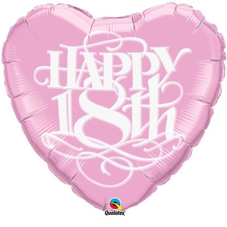 "Balon Folie Figurina ""Happy 18th"" - 79 cm, Qualatex 80973"