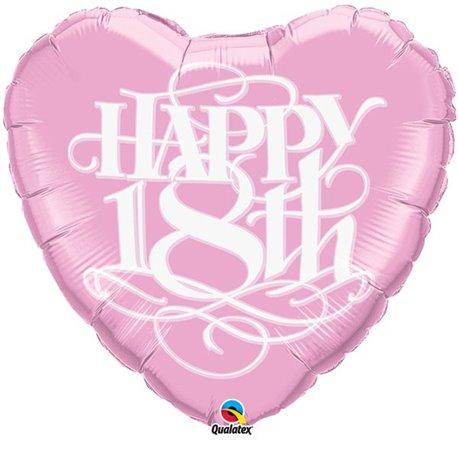 """Happy 18th"" Shape Foil Balloon - 79 cm, Qualatex 80973"