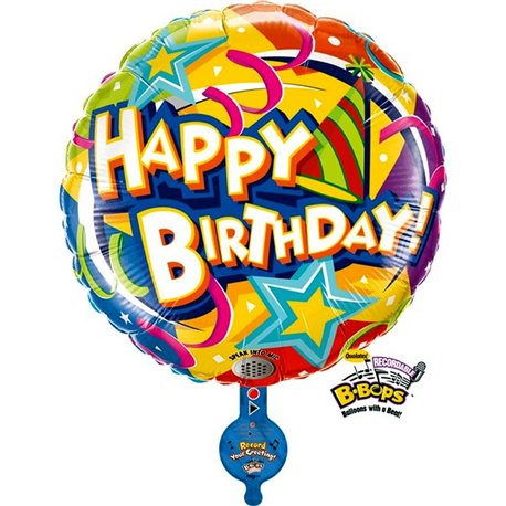 B-Bop Birthday Hat and Stars Shape Foil Balloon - 80 cm, Amscan 84003