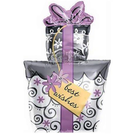 Best Wishes Present Shape Foil Balloon - 45x58 cm, Amscan 16120