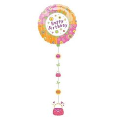 Balon folie figurina Drop A Line Happy Birthday - 61x137cm, Amscan 11170