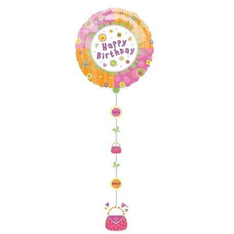Drop A Line Happy Birthday Shape Foil Balloon - 61x137 cm, Amscan 11170
