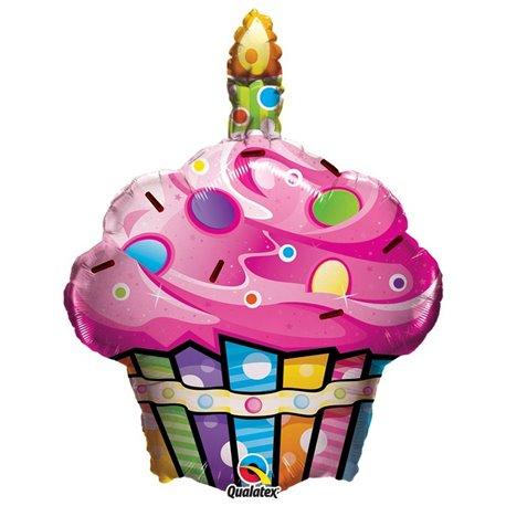 Fun & Funky Cupcake Shape Foil Balloon - 68 cm, Qualatex 16256