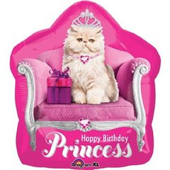 Balon folie figurina Kitten Princess Birthday - 50x55cm, Amscan 26793