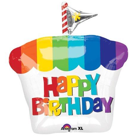 Rainbow Cupcake Shape Foil Balloon - 46 cm, Amscan 28810