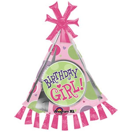 Birthday Girl Party Hat Shape Foil Balloon - 89cm, Amscan 17934