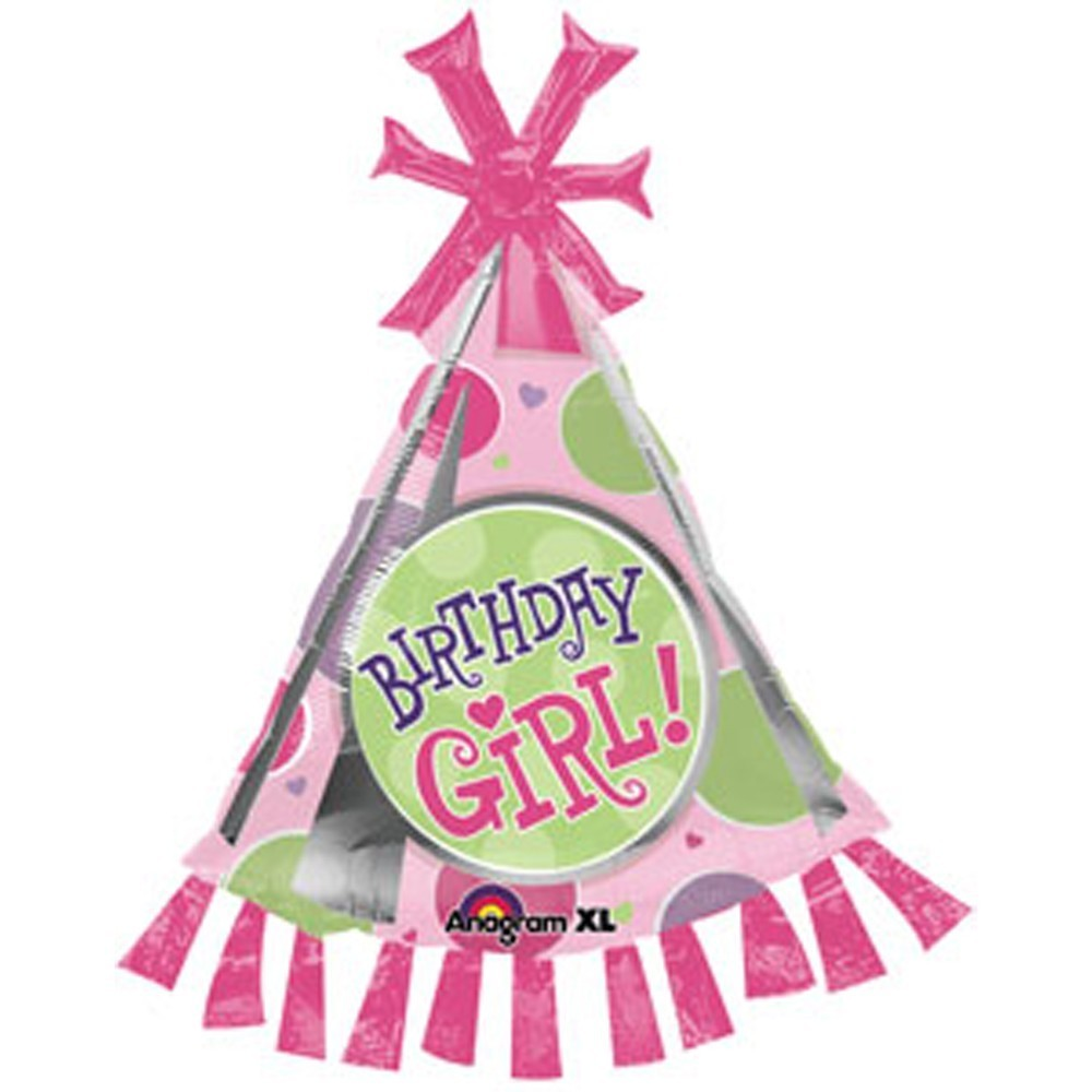 Birthday Girl Party Hat Shape Foil Balloon 89cm Amscan 17934