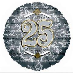 Balon folie 45cm argintiu 25th Anniversary, Amscan 0435101