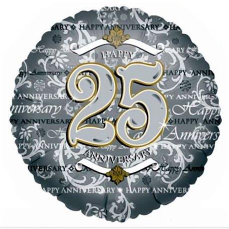 Balon Folie 45 cm Argintiu 25th Anniversary, Amscan 0435101