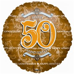 Balon folie 45cm auriu 50th Anniversary, Amscan 0435201