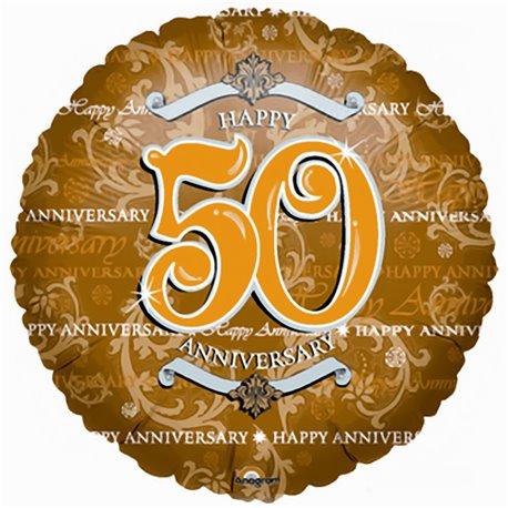 Balon Folie 45 cm Auriu 50th Anniversary, Amscan 0435201