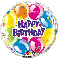 "Happy Birthday Sparkling Balloons Foil Balloon, Qualatex, 18"", 78155"